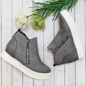 New Gray Zipper Hidden Wedge High Top Sneakers
